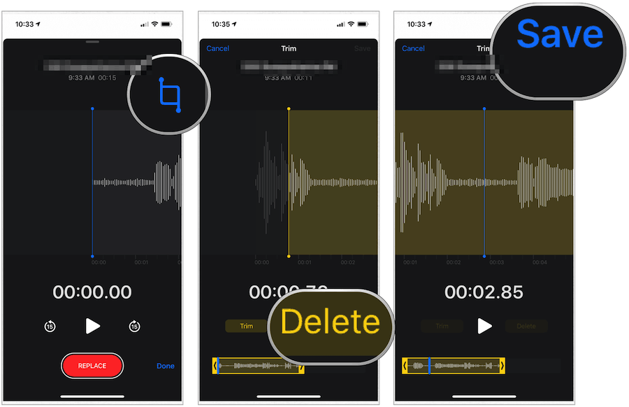 iPhone Voice Memos delete section