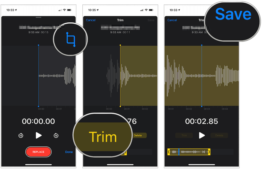 iPhone Voice Memos trim