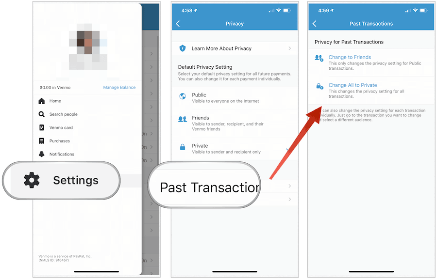 Venmo transactions privacy setting