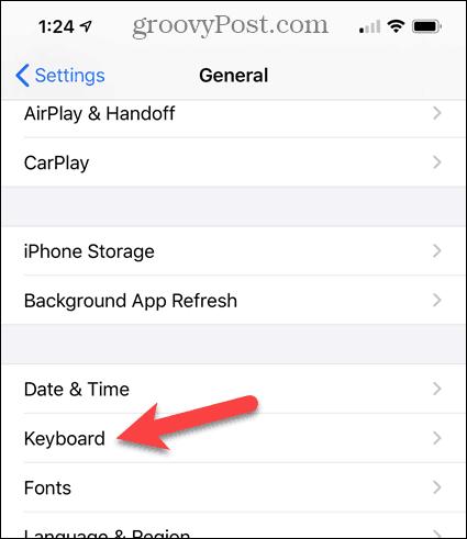Tap Keyboard in the iPhone Settings