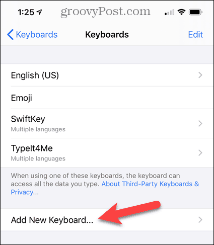 Tap Add New Keyboard in the iPhone Settings