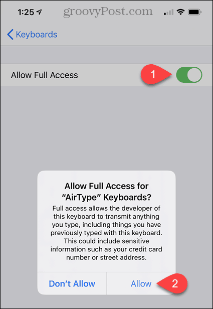 Turn on Allow Full Access for AirType