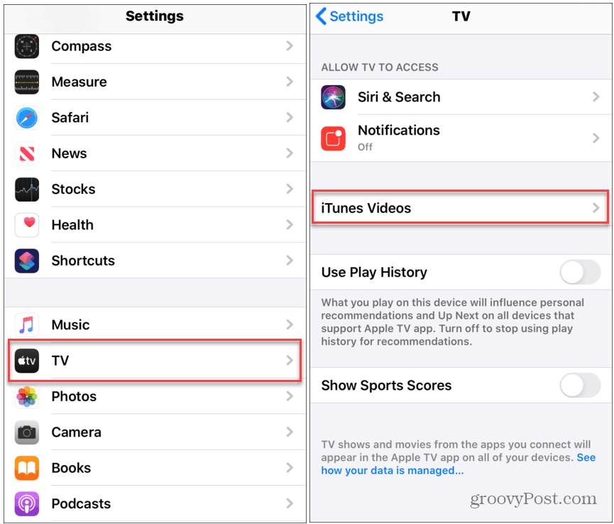 iPhone TV Settings
