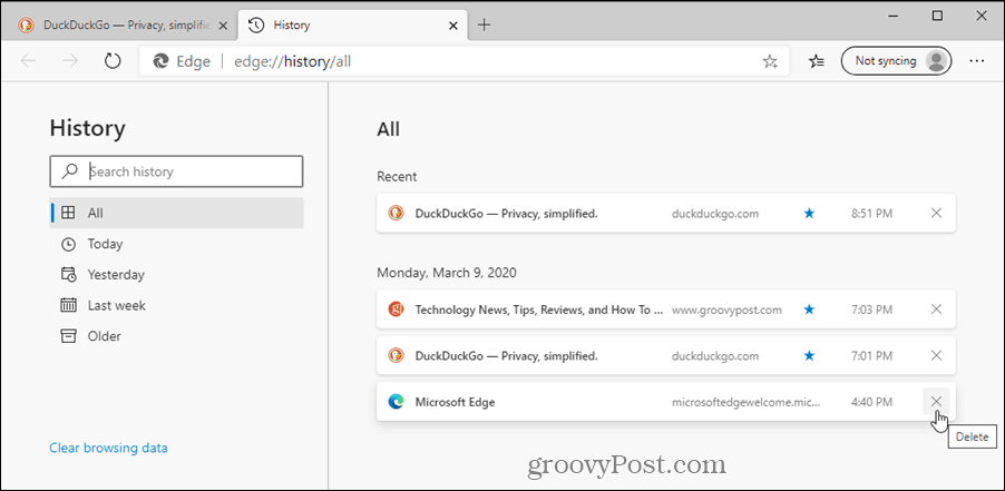 History page in Edge