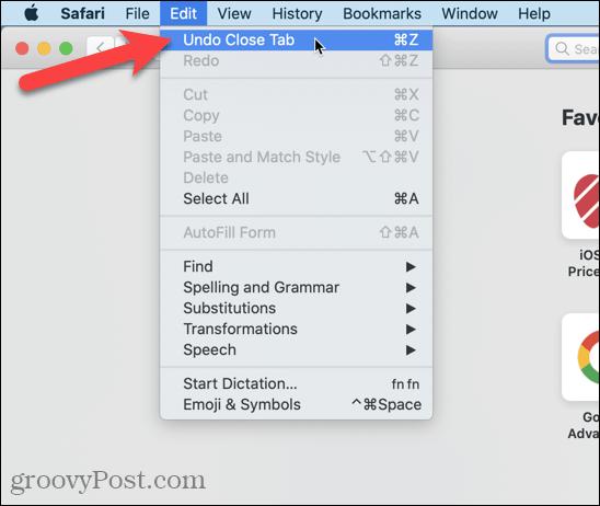 Go to Edit > Undo Close Tab in Safari