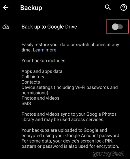 Android Backup settings backup to drive