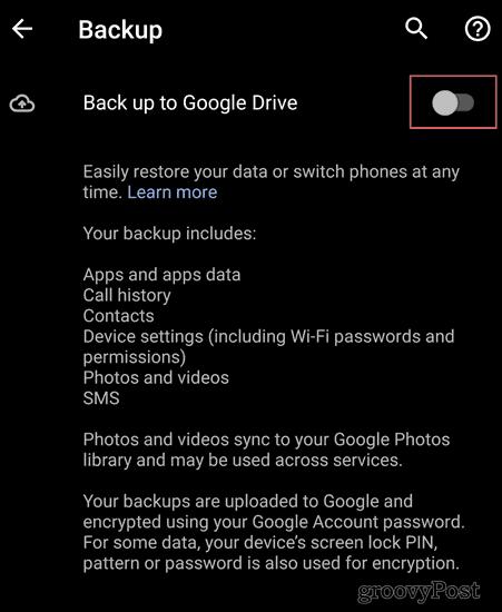 Android Backup settings backup to drive