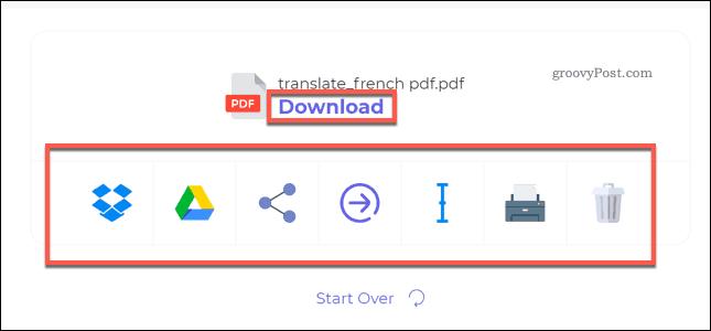 Downloading a translated PDF file using DeftPDF