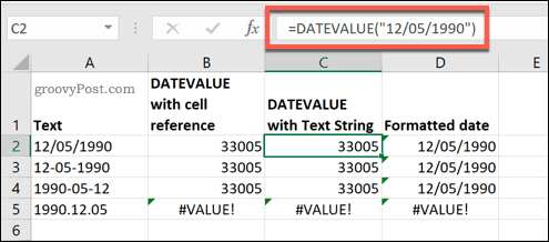 The DATEVALUE function used in Microsoft Excel