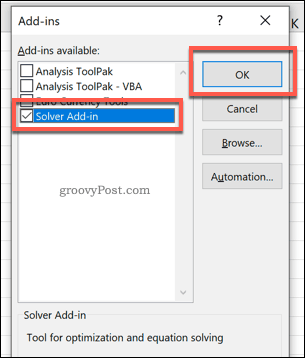 Enabling the Excel Solver add in