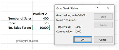 A preview of the Goal Seek tool in Excel