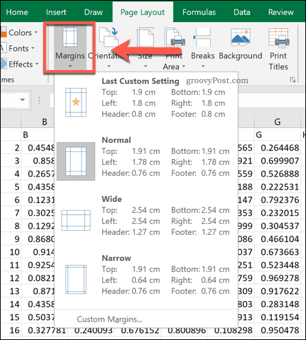 The Excel page margin options