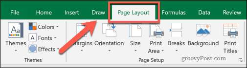The Excel Page Layout menu tab