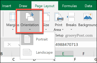 Excel page orientation options