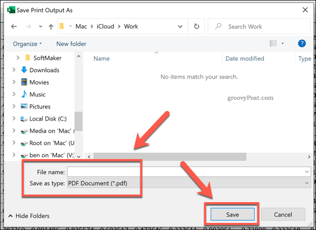 Excel print to PDF file save options