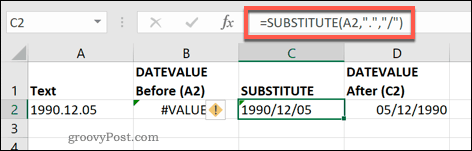 The SUBSTITUTE function in Excel
