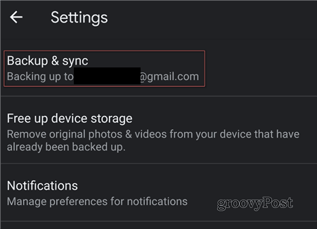 Google Photos backups and sync choose