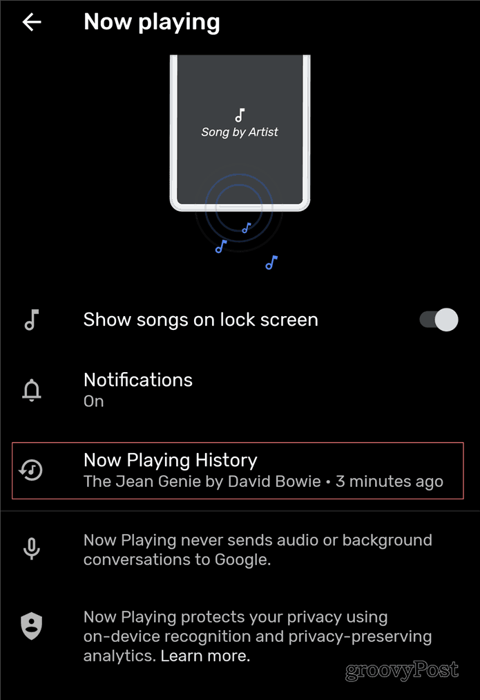 Now Playing Google Pixel songs