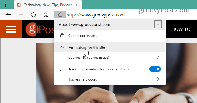 Permissions for this site Edge