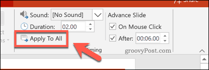 Applying slide timings to all slides in PowerPoint