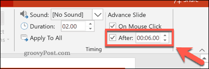 Setting a slide timing in PowerPoint