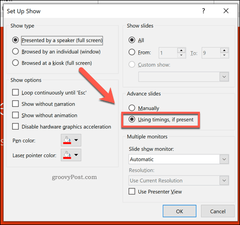 Enabling automatic slide transitions in PowerPoint