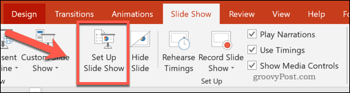 The Set Up Slide Show button in PowerPoint
