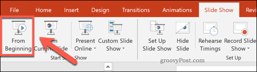 Show From Beginning button in PowerPoint