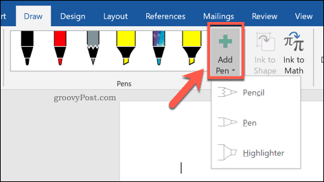 The Add Pen button in Word