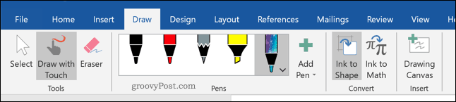 The Draw tab on the Word ribbon bar