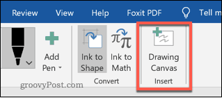 The Drawing Canvas button in Word