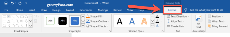 The Format tab in Word