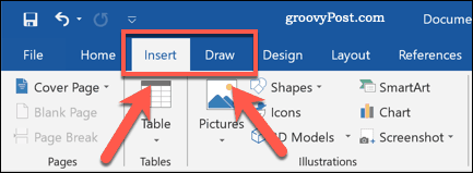 The Insert and Draw ribbon bar tabs in Word