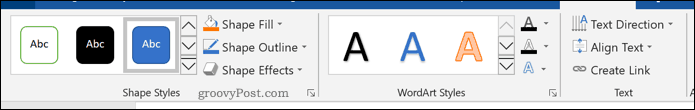 The formatting tools for shapes in Word