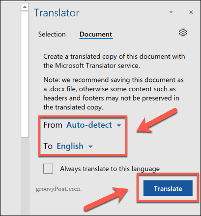 Translating an entire PDF document in Word
