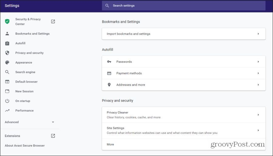 avast browser settings