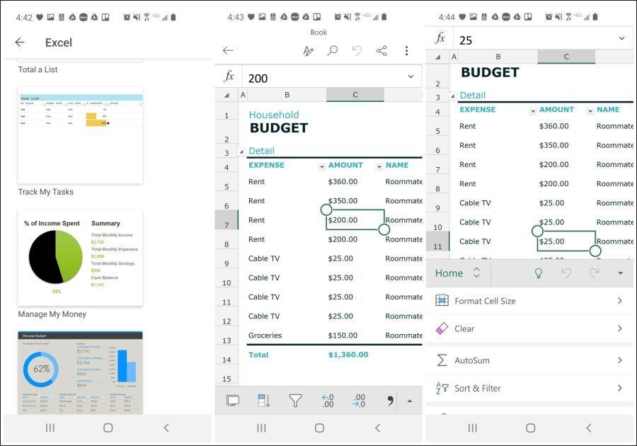 office mobile excel worksheets