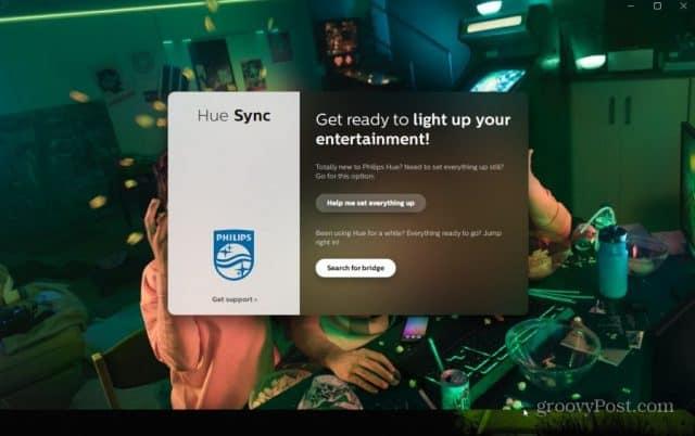 hue desktop launch screen