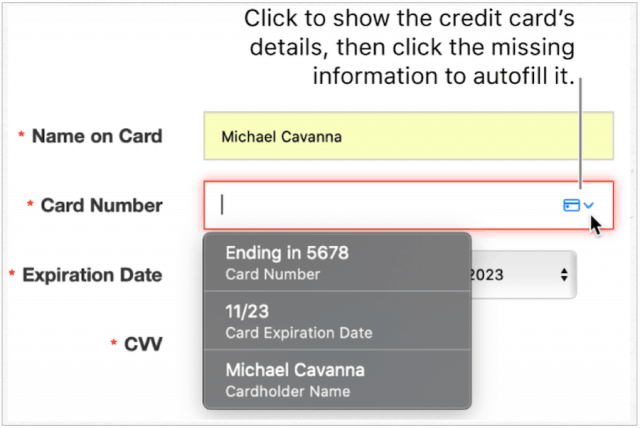 iCloud Keychain credit card