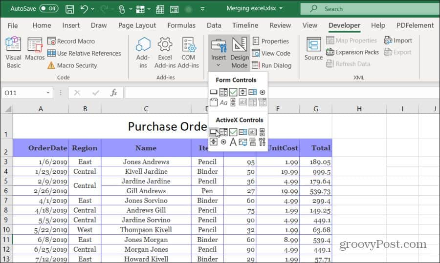 inserting a button in Excel
