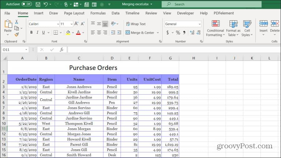 purchase orders example