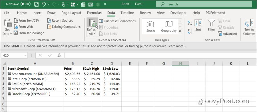 refreshing stock data in excel