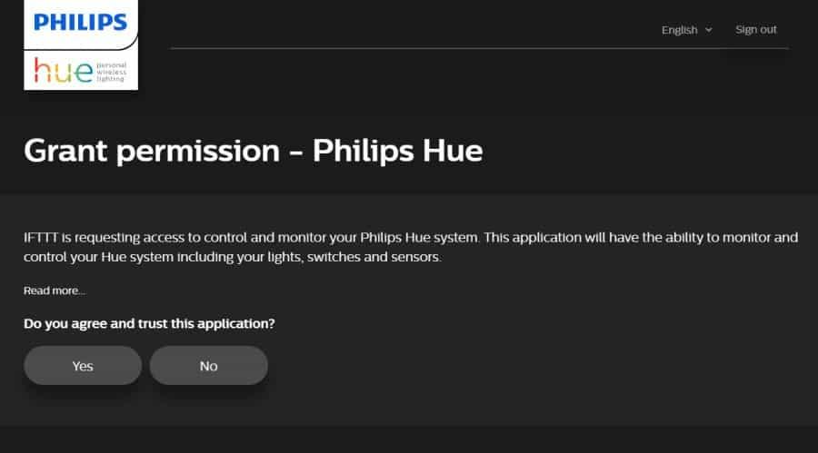 philips hue service on ifttt