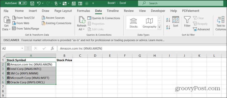 stock ticker symbols in excel