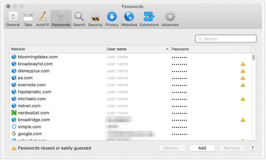 Mac web passwords