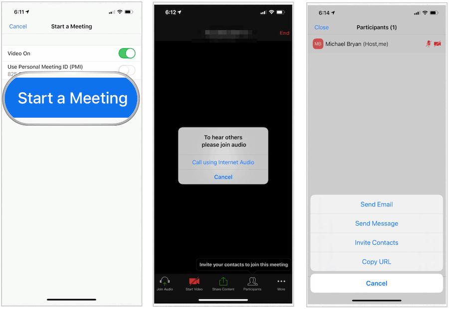 Zoom Start Meeting