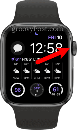 Press digital crown on Apple Watch