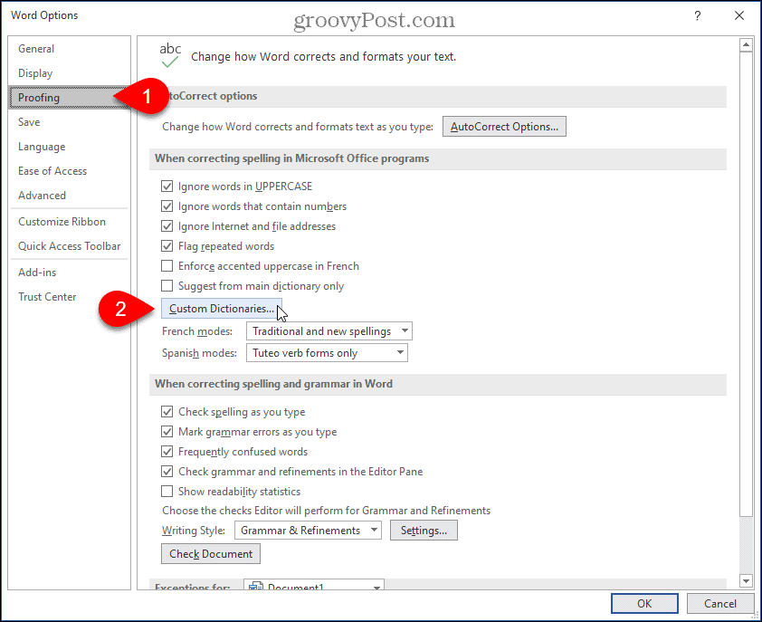 Click Custom Dictionaries in Word settings