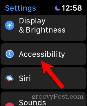 Tap Accessibility in Apple Watch Settings