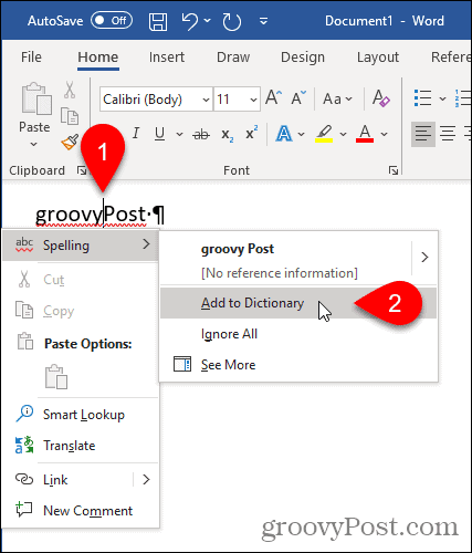 Select Add to Dictionary in Word